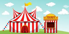 Circus tent and ticket booth Piirros