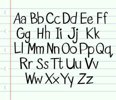 Handwriting English alphabet in upper and lower cases - stock illustration