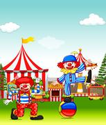 Two jesters performing in the amusement park - stock illustration