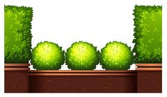Seamless fence design with bushes Stock Illustration
