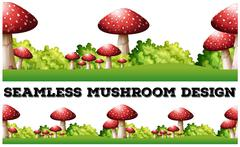 Seamless background with mushroom on the ground - stock illustration