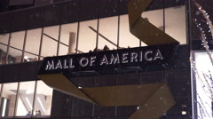 Mall of America entrance sign in winter snow 4k Stock Footage