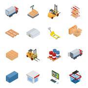 Vector isometric warehouse and logistics equipment - stock illustration
