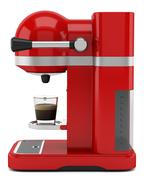 Red coffee machine isolated on white background Stock Illustration