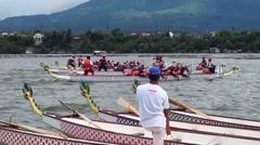 Dragon Race Boat Anchored at Bay Stock Footage