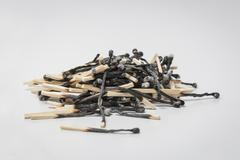 Heap of burned matches Stock Photos