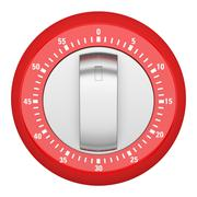 top view of red modern kitchen timer isolated on white background - stock illustration