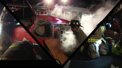 Montage of Fire and Rescue At Night Stock Footage