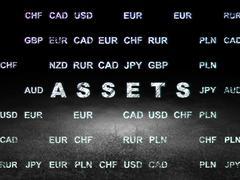 Banking concept: Assets in grunge dark room Stock Illustration