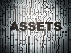 Money concept: circuit board with Assets Stock Illustration