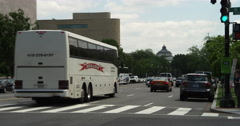 Looking east from 4th Street at traffic on Jefferson Avenue in Washington DC, Stock Footage