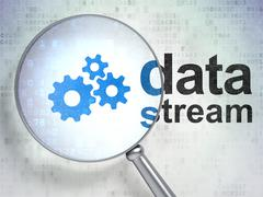 Data concept: Gears and Data Stream with optical glass Stock Illustration