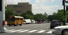Traffic on Jefferson Avenue in Washington DC, National Museum of the American Stock Footage
