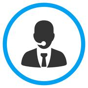 Call Center Manager Circled Icon Stock Illustration