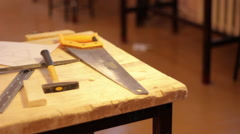 Carpenter table. Wood, equipment Stock Footage