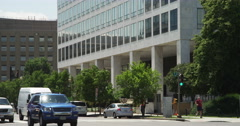 Tilt-up on US Department of Transportation building on Indiana Avenue and 7th Stock Footage