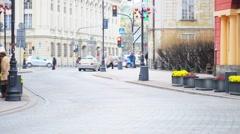 Time-lapse: Krakowskie Przedmiescie in Warsaw, Poland Stock Footage