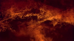 Flames fill frame, flowing upward to engulf and char wooden beams Stock Footage