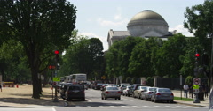 Looking west down Madison Drive at 7th Street in Washington DC, National Gallery Stock Footage