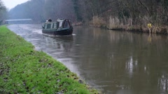 Narrowboat Through Ice - stock footage