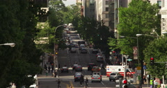 Overhead view of 12th Street at Madison Drive in Washington DC. Shot in May Stock Footage