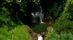 Aerial view of Hawaiian waterfall's course Stock Footage