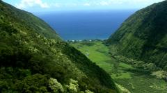 Flying down Hawaii's Waipio Canyon toward the ocean Stock Footage