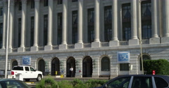 Street level view of the US Department of Agriculture building in Washington DC. Stock Footage