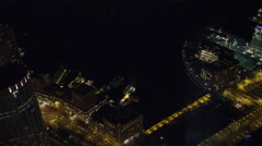 Orbiting Boston's Financial District at night, Old Customs House on right as Stock Footage