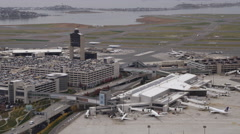 Flying past Boston's Logan Airport. Shot in 2011. Stock Footage