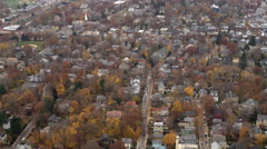 Flying over residential neighborhood on Boston's southside. Shot in 2011. Stock Footage