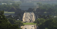 Traffic on Memorial Bridge over the Potomac River, looking from Arlington Stock Footage