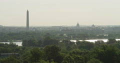 Looking across Potomac River toward DC landmarks in haze, seen from Arlington Stock Footage