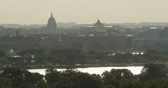 Looking across Potomac River toward US Capitol Building in haze, seen from Stock Footage