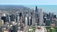 Flight approaching Chicago skyscrapers. Shot in 2003. Stock Footage