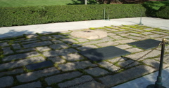 Eternal Flame at JFK grave in Arlington National Cemetery, Virginia. Shot in May Stock Footage