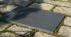 Close-up of JFK grave marker at Arlington National Cemetery. Shot in May 2012. Stock Footage