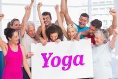 Stock Photo of Yoga against white wave design