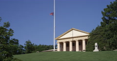 Arlington House (Robert E. Lee Memorial) with flag at half-staff, seen from - stock footage