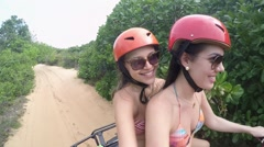 Girls Having Fun in the Buggy, Natal, Brazil - stock footage