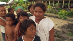 Close-up group portrait of smiling Samoan children Stock Footage