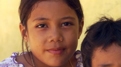 Close-up portrait of two Samoan children Stock Footage