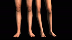 Human legs medium shot on black Stock Footage