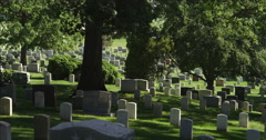 Headstones in Arlington National Cemetery. Shot in May 2012. - stock footage