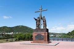 Monument to Holy Apostles Peter and Paul in Petropavlovsk-Kamchatsky City Stock Photos