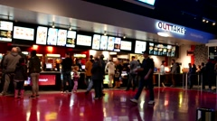 Blur motion of people line up for buying foods at cinema - stock footage
