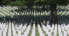 Rows of government-issued grave markers in Arlington National Cemetery, Stock Footage