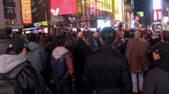 Times Square Crowd Celebrates after 2012 Election Night Obama Stock Footage