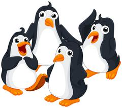 Four penguins with happy face Stock Illustration
