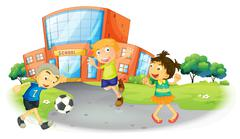 Children playing football at the school Stock Illustration